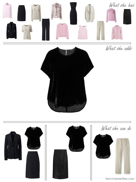 adding a black velvet tee to a 4 by 4 Wardrobe