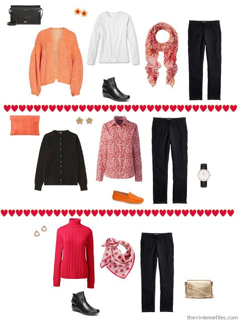 3 ways to wear sweatpants from a black, white, orange and hot pink travel capsule wardrobe
