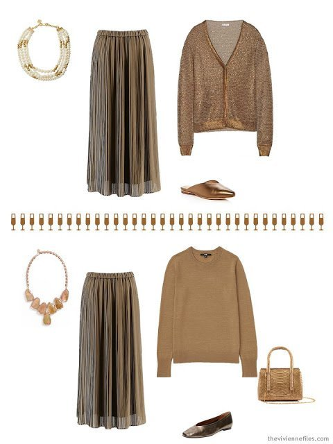 2 outfits for the December and January holidays in bronze brown