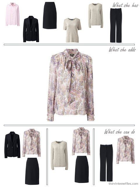 adding a print blouse to a 4 by 4 wardrobe