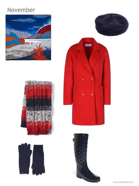 a red wool winter coat with navy accessories