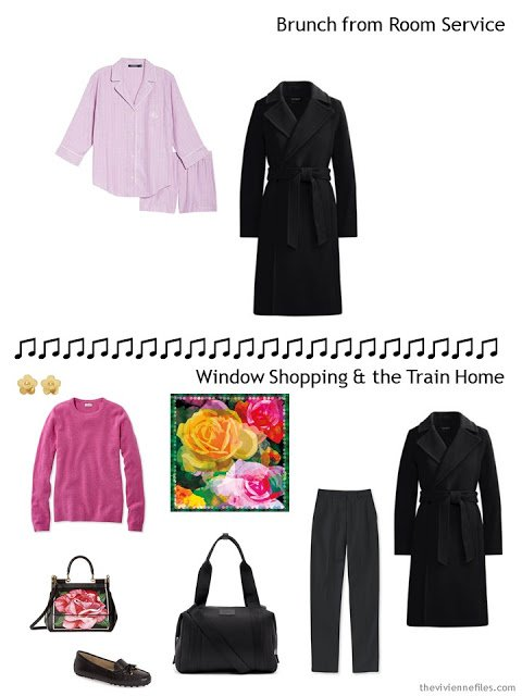 2 outfits from an overnight travel capsule wardrobe in black and white with green, yellow and pink accents