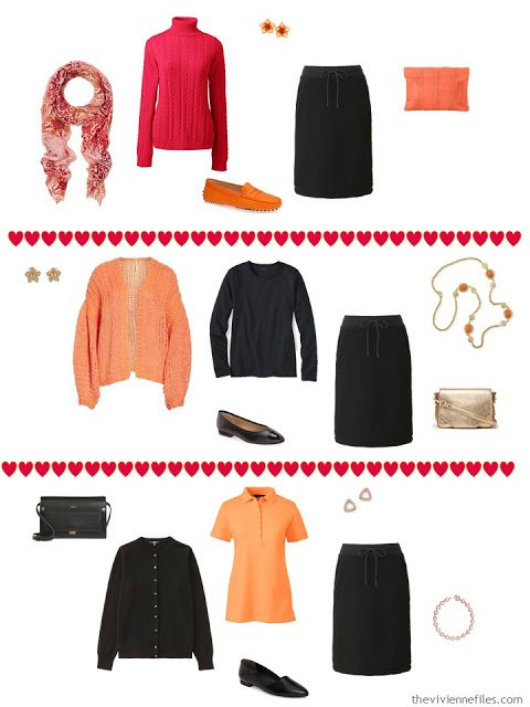 3 ways to wear a sweat skirt from a black, white, orange and hot pink travel capsule wardrobe