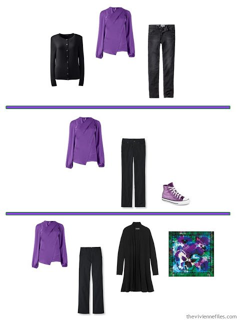 3 ways to wear a vivid purple blouse with A Common Wardrobe in black and white