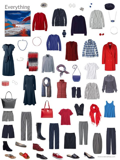 capsule wardrobe in shades of blue, grey, and shades of red