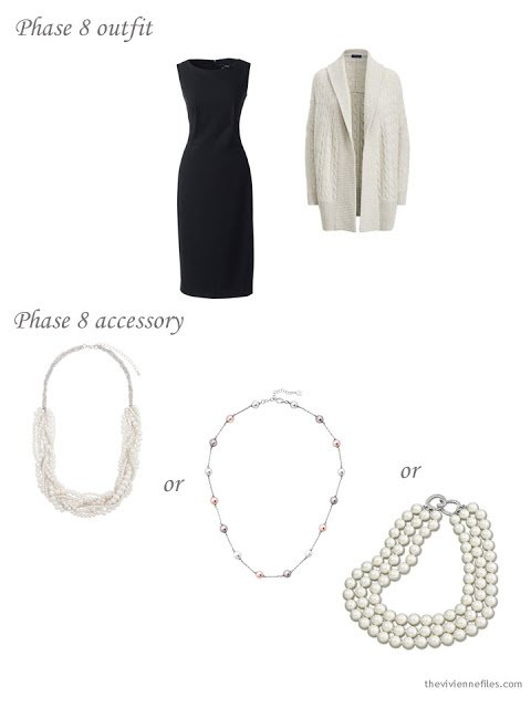 adding a pearl necklace to a 4 by 4 Wardrobe in black, taupe and pink