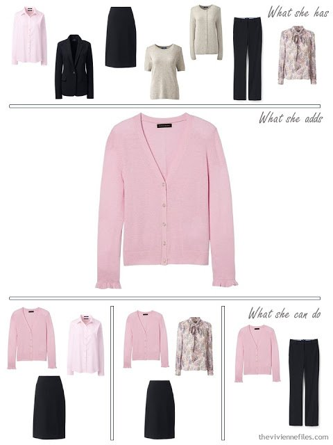 adding a pink cardigan to a 4 by 4 Wardrobe