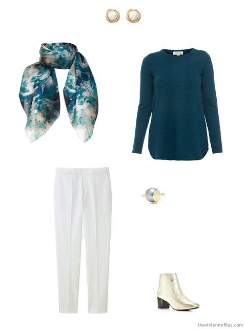 a teal velvet sweater and winter white pants for the holidays