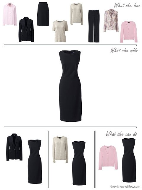 adding a black dress to a 4 by 4 wardrobe