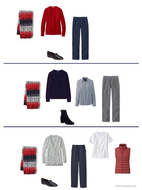 3 outfits including a striped scarf in red, navy and grey