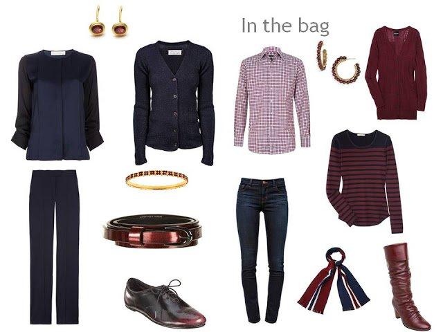 travel capsule wardrobe in navy and burgundy
