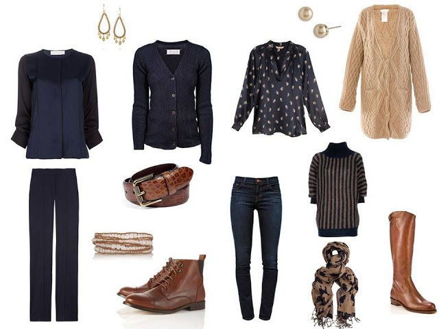 travel capsule wardrobe in navy and camel