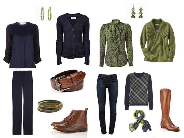 travel capsule wardrobe in olive and navy for cold weather
