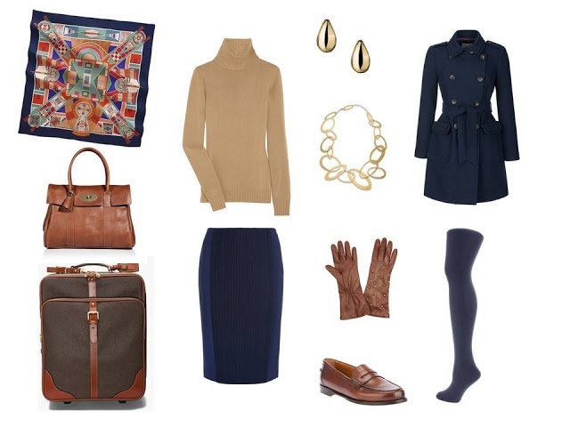 travel outfit in camel and navy for cool weather
