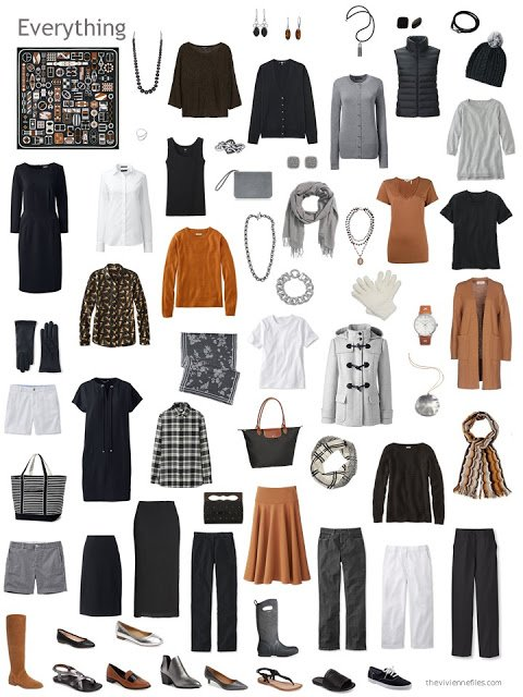 a capsule wardrobe based on an Hermes scarf, in black, grey, white and rust