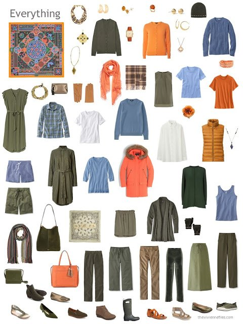 capsule wardrobe in olive, blue, and orange