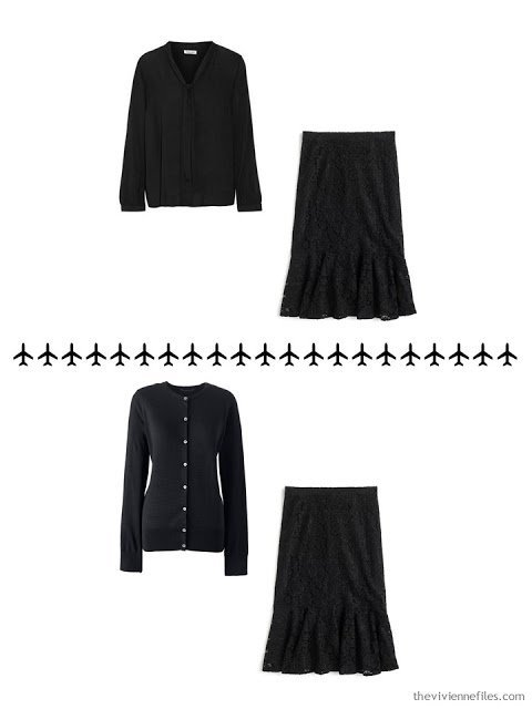 2 ways to wear a black lace skirt