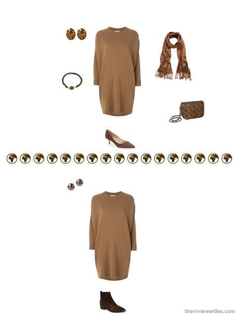 2 ways to wear a brown knit dress in a 4 by 4 Wardrobe