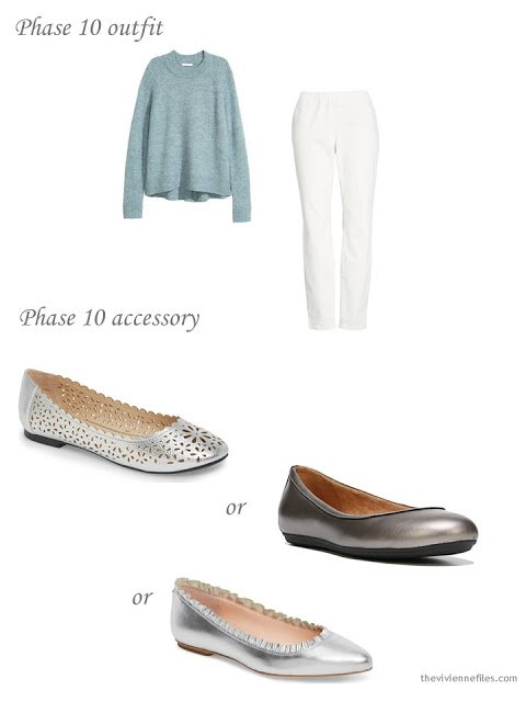 adding silver ballet flats to a 4 by 4 Wardrobe in Navy with floral accents