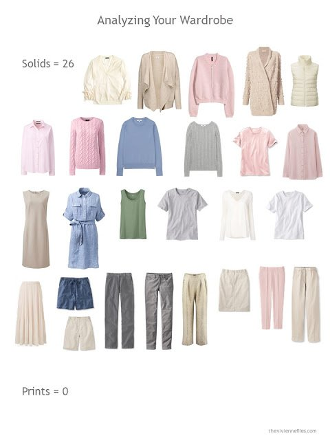 evaluating a capsule wardrobe based on the number of solid vs printed garments