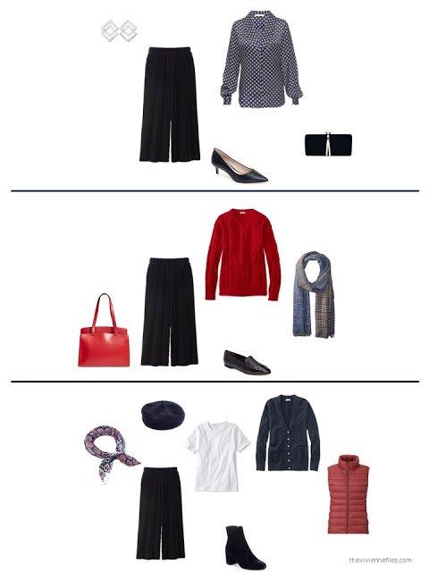 3 ways to wear navy velvet pants