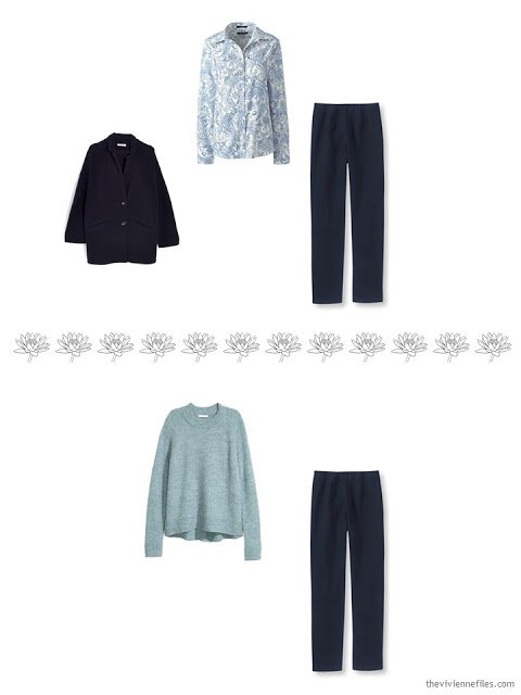 2 ways to wear navy knit pants in a 4 by 4 Wardrobe