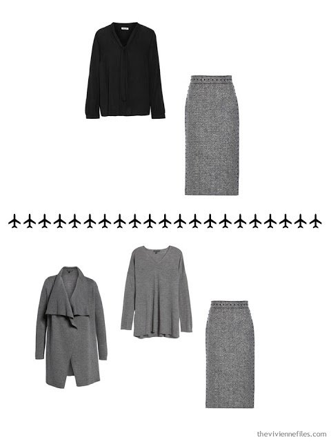 2 ways to wear a grey tweed skirt