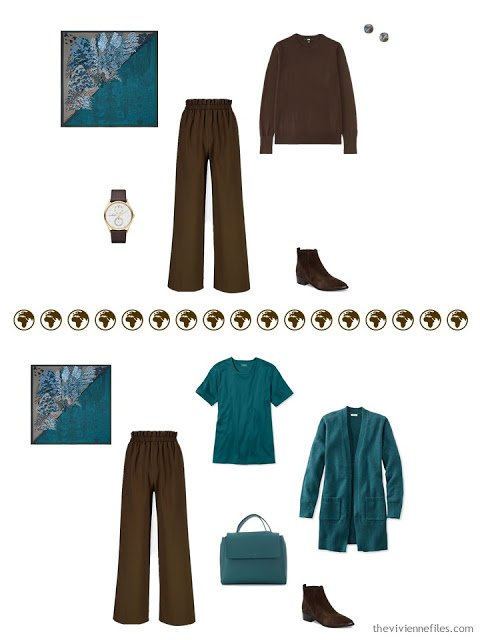 2 ways to wear brown pants from a 4 by 4 Wardrobe