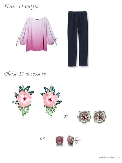 adding floral earrings to a 4 by 4 Wardrobe in Navy with floral accents