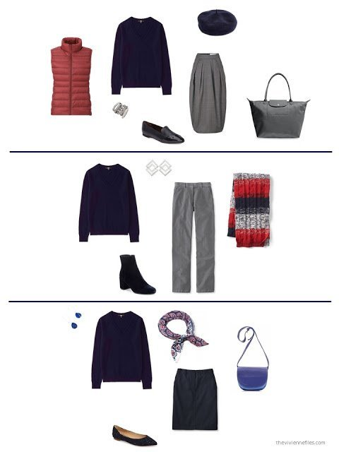 3 ways to wear a navy sparkly sweater