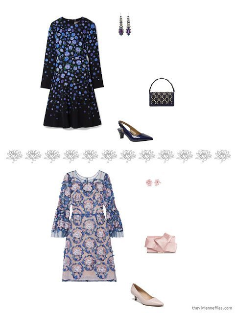 two floral dresses with accessories