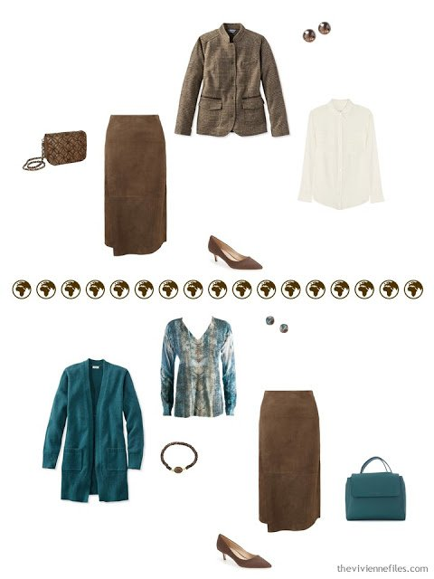 2 ways to wear a brown suede skirt from a 4 by 4 Wardrobe