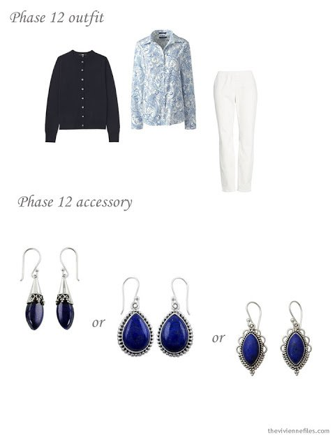 adding lapis earrings to a 4 by 4 Wardrobe in Navy with floral accents