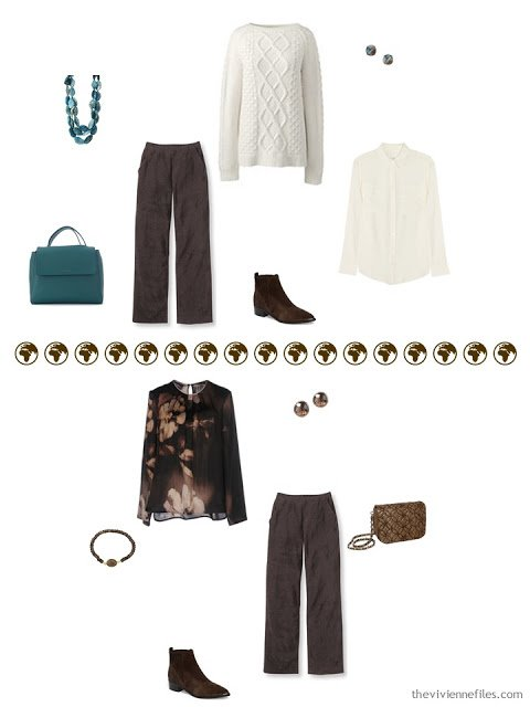 2 ways to wear brown pants skirt from a 4 by 4 Wardrobe
