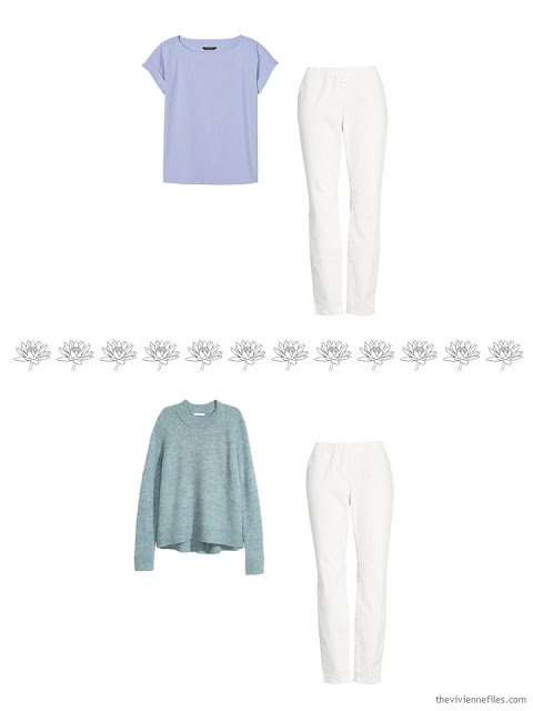 2 ways to wear ivory denim pants in a 4 by 4 Wardrobe