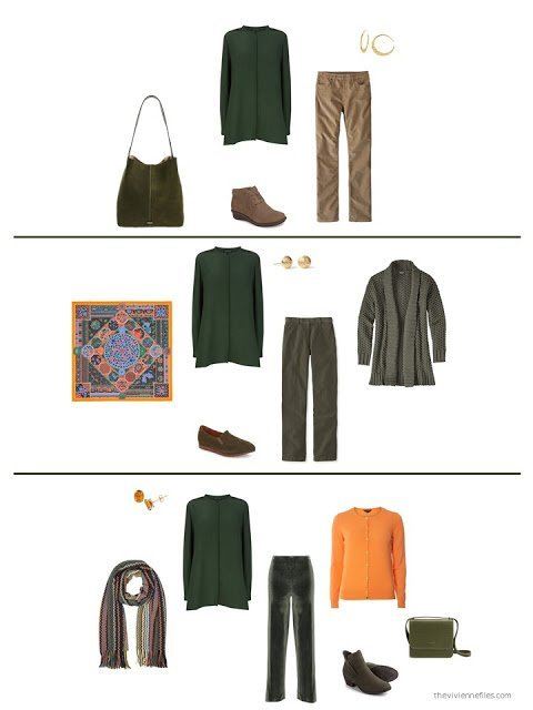 three ways to wear a green silk tunic