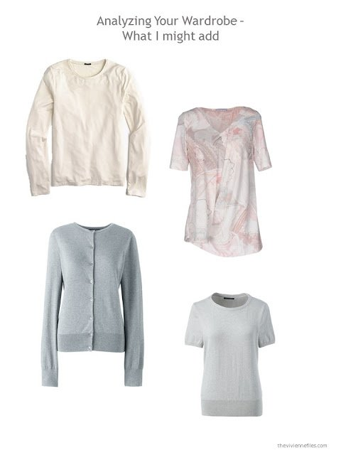 4 pieces to add to a capsule wardrobe in beige, grey, pink and blue