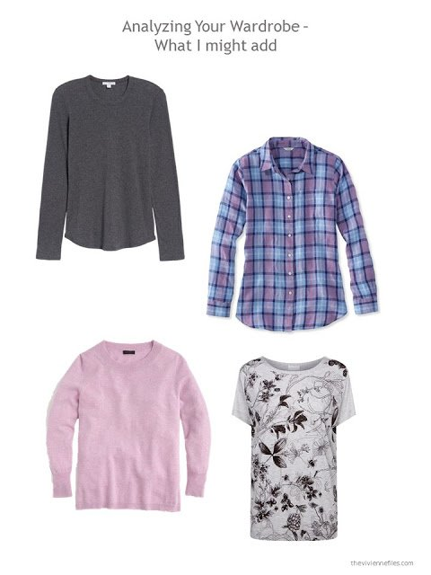 suggested additions to a capsule wardrobe in grey, blue and orchid