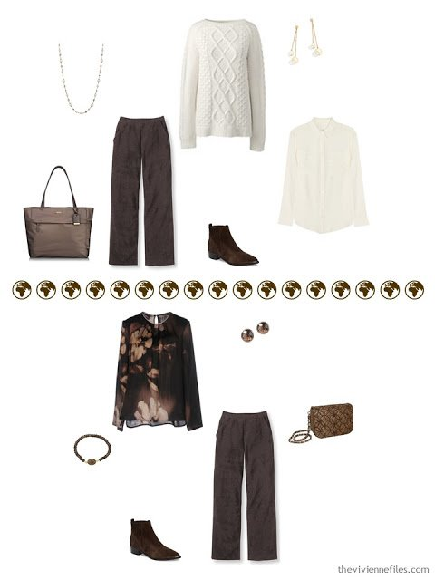 2 ways to wear brown corduroy pants from a 4 by 4 Wardrobe in browns, cream and teal