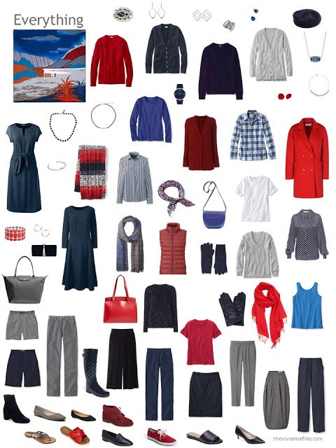 capsule wardrobe in navy, grey, and shades of red
