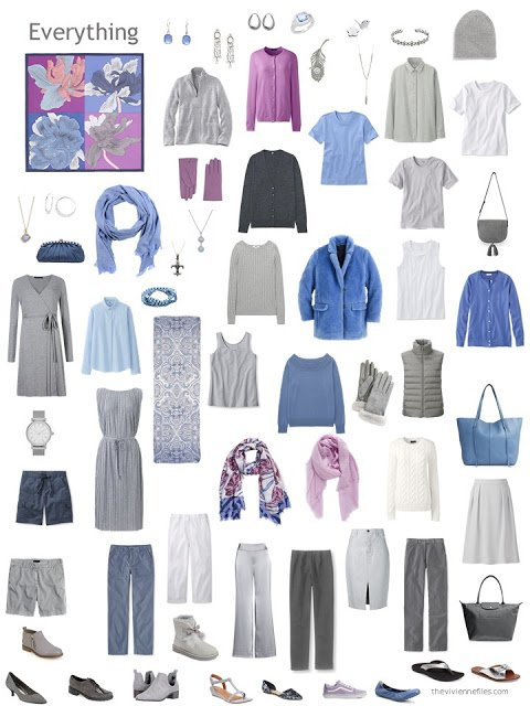 a 12-outfit wardrobe in grey with shades of blue, orchid and white