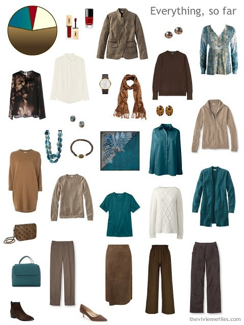 4 by 4 Wardrobe in shades of brown and cream with teal accents and minimal accessories