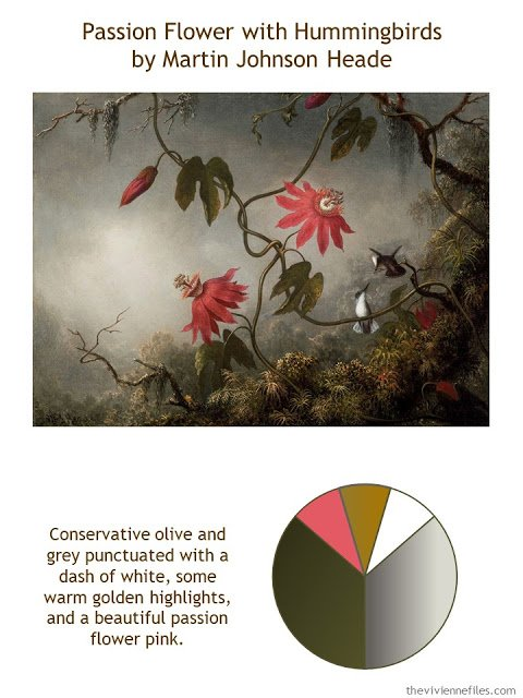 Passion Flowers with Hummingbirds by Martin Johnson Heade with style guidelines and color palette
