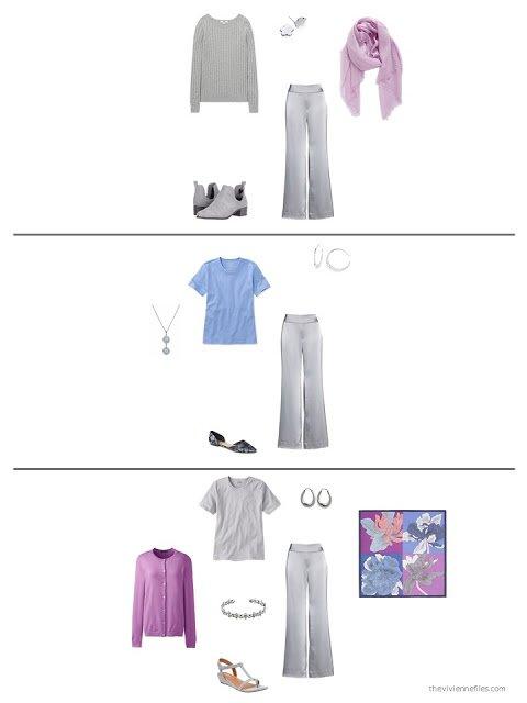 3 ways to wear silver satin pants