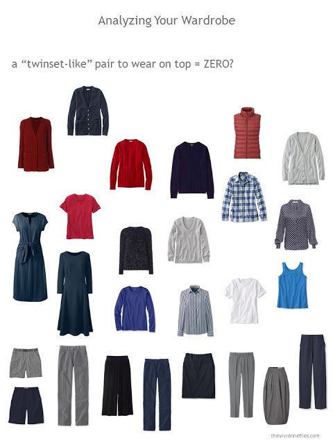 evaluating a wardrobe on the presence of a twinset or equivalent