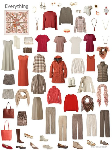 a 12-outfit wardrobe in shades of beige and brown with orange and red accents