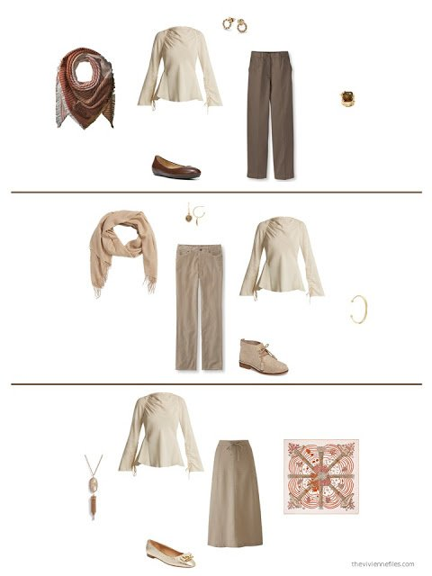3 ways to wear a beige blouse