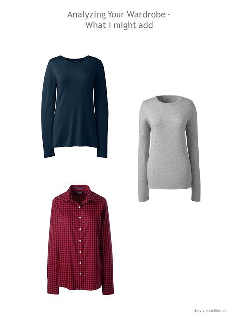 3 pieces to add to a capsule wardrobe in navy, grey and shades of red