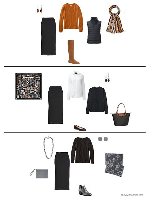 3 ways to wear a black pleated skirt