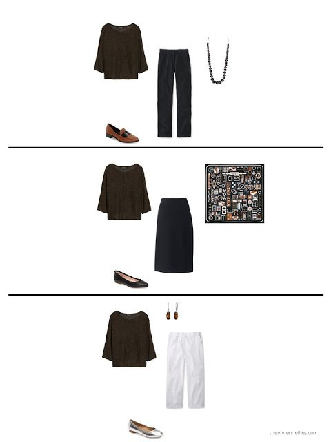 3 ways to wear a metallic bronze sweater